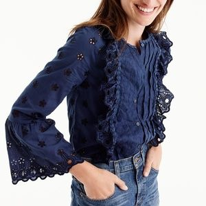 J.Crew | Blue Floral Eyelet Button Down - NEW - 0